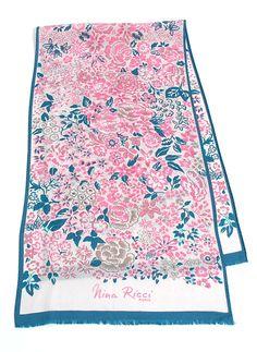 774cc3cd624 Items similar to Vintage Designer Nina Ricci Paris Silk Floral Scarf on Etsy