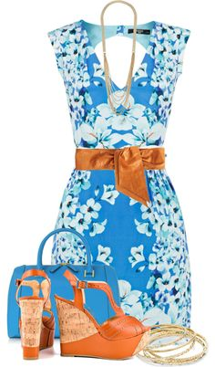 A fashion look from April 2013 featuring floral dresses, cognac shoes and MCM. Browse and shop related looks. Pretty Outfits, Stylish Outfits, Cute Outfits, Cute Dresses, Casual Dresses, Fashion Dresses, Mode Collage, Diva Fashion, Womens Fashion