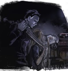 Dead by Daylight Michael with Laurie Art by Kawarayane Slasher Movies, Horror Movie Characters, Horror Movies, Horror Villains, Michael X, Michael Myers, Halloween Film, Halloween Horror, Horror Icons