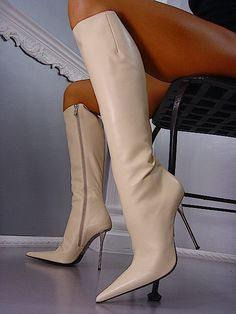 I would love a pair of these boots in black! Thigh High Boots, High Heel Boots, Knee Boots, Heeled Boots, Bootie Boots, High Heels, White Boots, Sexy Boots, Cute Shoes