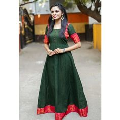 Sungudi - Forest Green Madhurai Zari Border Maxi Dress - A color combination that your have in your collection. Kurti Designs Party Wear, Kurti Neck Designs, Dress Neck Designs, Blouse Designs, Chudidhar Designs, Blouse Patterns, Saree Gown, Anarkali Dress, Lehenga