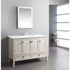 Windham Soft White 48-inch Bath Vanity with 2 Doors, Bottom Drawer and White Quartz Marble Top | Overstock.com Shopping - The Best Deals on Bathroom Vanities