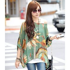 Womens Chiffon One Shoulder Print Blouse