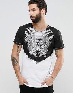 Imagen 1 de Camiseta con estampado de calaveras y flores en el canesú de  Religion Polos 8722b07e051