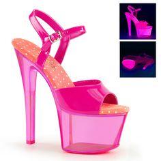 Pleaser SKY-309UVT Neon Hot Pink Ankle Strap Sandals With Hot Pink Tinted Platform