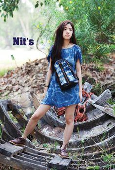 Indigo dress & bag by Nit's