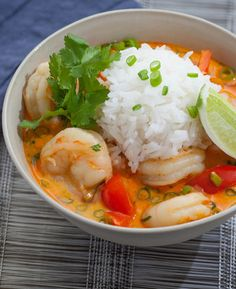 Thai Shrimp Soup with Coconut, Lemongrass Red Curry- So yum! Reminded me of a yellow curry but as a soup. Good thing Christina told me to use less red curry paste because with half it was just hot enough for me (mild). Seafood Recipes, Soup Recipes, Cooking Recipes, Recipies, Thai Cooking, Dinner Recipes, Thai Shrimp Soup, Thai Soup, Spicy Shrimp
