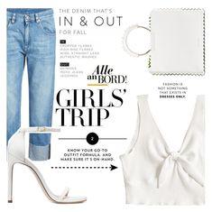 """Girls Trip : White"" by elenaafiya ❤ liked on Polyvore featuring Brunello Cucinelli, Stuart Weitzman, Sara Battaglia, Chanel, girlstrip and WineTastingOutfit"