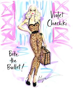'Bite the Bullet!' One of my fave queens, @violetchachki, in her Jet Set Eleganza look! @rupaulsdragrace S7 xo #jenniferlilya #fashionillustration #rocktherunway