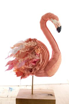 Pink Flamingo Fabric Sculpture - Tracey Cameron