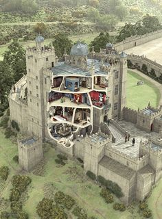 Bolsover Castle cross section  [Bolsover Castle is a castle in Bolsover, Derbyshire, England. It was founded in the 12th century by the Peverel family, who also owned Peveril Castle in Derbyshire, and came under royal control in 1155.]