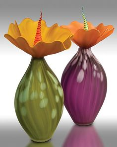 """""""Spotted BOBtanicals""""  Art Glass Vessel  Created by Bob Kliss and Laurie Kliss"""