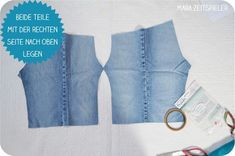 Upcycling tutorial: sewing baby pants from old jeans ~ Mara time player - upcycling kleidung Sewing Clothes, Diy Clothes, Sewing Tutorials, Sewing Projects, Tutorial Sewing, Baby Jeans, Patterned Jeans, Jean Vest, Vest Pattern