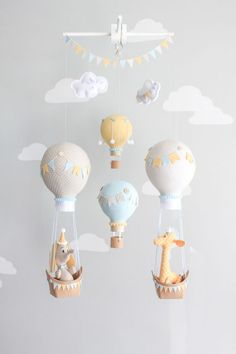 Hot Air Balloon Baby Mobile, Giraffe and Elephant Nursery Decor, Travel Theme Nursery, Orange, Aqua, Gray-Griege Nursery, i167 by sunshineandvodka on Etsy: