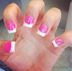 Pink sparkles white tip