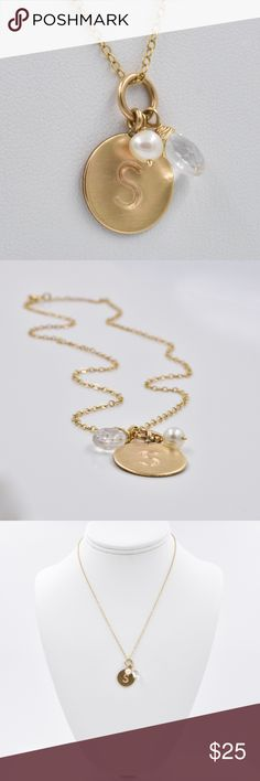 """Initial Pendant Necklace, Gold Tone, 16"""" Letter S Gold Tone Initial Pendant Necklace with the letter """"S"""", with a hanging pearl and crystal bead. This is so adorable with a V-neck tee shirt. It's so simple and feminine.  the gold tone chain is 16"""" in length and fastens with a spring ring closure. So versatile, you can wear it everyday! . Jewelry Necklaces"""
