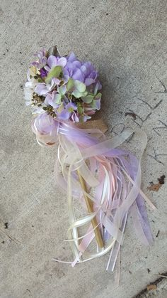 Custom Order for ONE Flower Girl Pom Wand Ivory Lilac Blush Green Champagne by KAArtisticEvents on Etsy