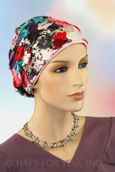 $19.50 - Spring Bouquet Shirred Cap - @ hatsforyou.net #cancer #chemo #alopecia #hair loss