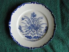 Vintage Plate Flowers Blue Cobalt Studio hand painted Artist A.R.#8