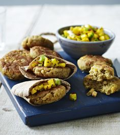 A simple veggie burger with a nice kick of spice. Serve with a zesty mango salsa for a snack that's full of flavour