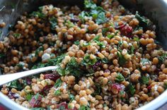 Hard red wheatberry salad with kale, mint, parsley, cranberry, walnut, and goat cheese #backtobasicsjanuary