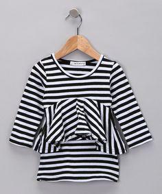 Look at this #zulilyfind! Black Stripe Mod Dress - Toddler & Girls by POP Couture #zulilyfinds