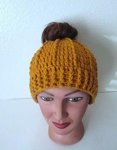 Mustard Messy Bun Hat Ridged Bun Hat Ponytail by TissysTreasures