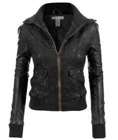 Womens Faux Leather Zip Up Biker Moto Jacket Blazers, Cool Outfits, Fashion Outfits, Fashion News, Moto Jacket, Swagg, Leather And Lace, Autumn Winter Fashion, Jackets For Women