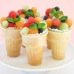 Fruit Salad Ice Cream Cones from Bakers Royale and Creative and Easy First Day of School Snacks on Frugal Coupon Living.
