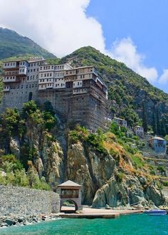 Monastery of Dionisiou, Mount Athos, Greece Mykonos, Santorini, Beautiful Islands, Beautiful World, Beautiful Places, Thasos, Cool Places To Visit, Places To Go, The Holy Mountain