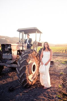 Photography by lovelightimages.com, Planning by mgardens.com, tractor wedding portrait
