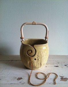 Yarn Bowl, Knitting bowl with handle, Handmade ceramic pottery via Etsy