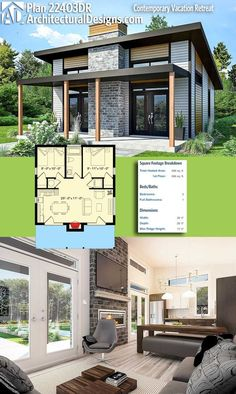 Architektonische Entwürfe Tiny House Plan gibt Ihnen 680 Quadratmeter W. Architectural Designs Tiny House Plan gives you 680 square feet of heat . Architectural Designs Tiny House Plan gives you 680 square feet of heat . - she shed idea - # Tiny House Cabin, Tiny House Living, Tiny House Plans, Tiny House Design, Tiny Home Floor Plans, Tiny House 2 Bedroom, Little House Plans, Tiny Beach House, Square House Plans