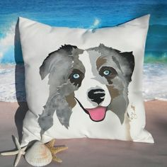Beach Dogs Collection Australian Shepherd Outdoor Pillow by Seaside Artisans