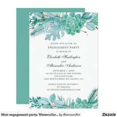 Neutral mint winter baptism Invitation created by RemioniArt. Baptism Invitations, Engagement Party Invitations, Birthday Invitations, Shower Invitations, Sweet 16 Birthday, 16th Birthday, Cactus Wedding, Neutral, Watercolor Succulents