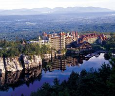 Mohonk Mountain House is a 251-room Victorian castle-with a well-planned kid's program, and 21st-century rates. Every December 24, guests venture into the woods to find the timber with a red ribbon on it. Whoever brings back the ribbon gets to light the Yule log in a ceremony before Christmas dinner. The outdoor fun also includes hiking in the surrounding Shawangunk Ridge (aka the Gunks, a famous rock climbing locale), and skating in the resort's own pavilion.