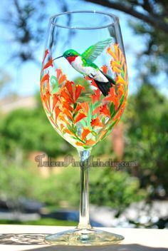 Hand Painted Hummingbird Wine Glasses by TulaczFineArts, $40.00 hummingbirds, orange flowers, mother's day gift