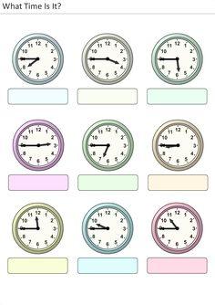 Actividades para niños preescolar, primaria e inicial. Plantillas con relojes analogicos para aprender la hora diciendo que hora es. Que hora es. 27