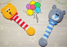 Winnie the Pooh and Teddy crochet rattles - FREE patterns