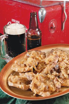 Pork Chops with Sweet Onions in Root Beer ... and other recipes with soda pop: Bean Dip a la Dr Pepper, Ribs with Sweet Cola Barbecue Sauce, Root Beer Float Cake