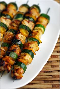 Indonesian Chicken & Vegetable Skewers - zucchini, yellow bell peppers, chicken. simple delicious