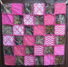 Modern Camouflage Baby Girl Rag Quilt Blanket, Real Tree Camo and Pink Patterns, Beautiful Shower Gift on Etsy, $59.00
