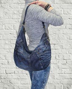 Denim purse hobo bag slouchy tote handbag shoulder by BukiBuki