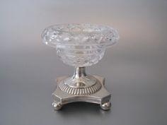 Empire kristal met zilveren zoutvat | Blauw glas, kristal en zilver | Collectie | Antiek Zilver