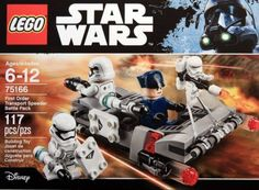 First Order Transport Speeder Battle Pack (75166), complete with two First Order Stormtroopers, First Order Flametrooper and First Order Officer, priced $14.99.