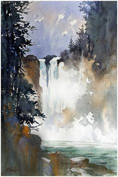 """Snoqualmie Falls - Washington"" thomas w. schaller - watercolor artist Watercolor Plein-Air Sketch on Fabriano Artistico 13x12 inches - 15 July 2015 Google+"
