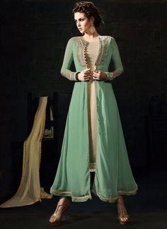 Sea Green Beige Embroidery Work Lycra Georgette Designer Fancy Anarkali Suit http://www.angelnx.com/Salwar-Kameez/Anarkali-Suits