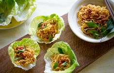 Spicy pork lettuce bowls with noodles