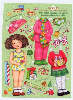 Mary Engelbreit Paper Doll, Mikayla Ready For Holiday Season, Scrapbook, Collage. $3.00, via Etsy.