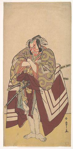 The Fourth Ichikawa Danjuro as Arakawataro Makezu in Shibaraku  Katsukawa Shunshô  (Japanese, 1726–1792)  Period: Edo period (1615–1868) Date: December 1779 Culture: Japan Medium: Polychrome woodblock print; ink and color on paper